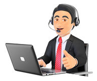 3D Call center employee working with thumb up Royalty Free Stock Image