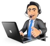 3D call centrewerknemer die met omhoog duim werken Stock Foto