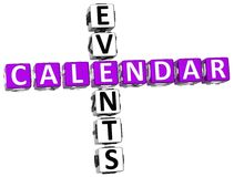 3D Callendar Events Crossword Stock Image