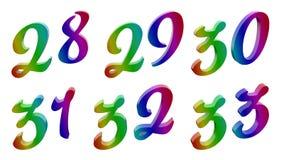3D calligrafico ha reso i numeri illustrazione di stock