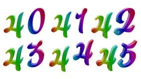 3D calligrafico ha reso le cifre, numeri illustrazione vettoriale