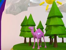 3d camel inside a low-poly green scene. With sun, trees, clouds and a rainbow Stock Photos