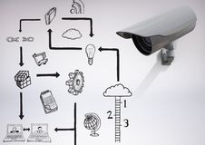 3D Camera against grey background with technology graphic drawings icons Royalty Free Stock Image
