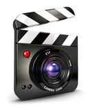 3d camera clapper board. White background, 3d image Stock Photos