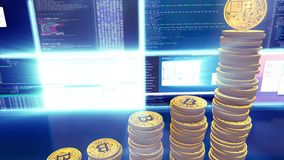 3D cg of mining bitcoins with moving camera, blue. 3D camera moves around bitcoins. CG animation of the process of computing data for mining bitcoins and other stock illustration