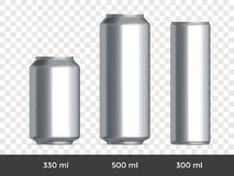 3D can mockup. Vector aluminium beer or soda can blank template stock illustration