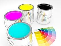 3d can paint. 3d image of metallic cmyk can paint Stock Photos