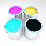 3d can paint. 3d image of metallic cmyk can paint Royalty Free Stock Photo