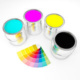 3d can paint. 3d image of metallic cmyk can paint Stock Photography