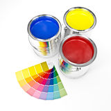3d can paint. 3d image of metallic can paint and swatches Stock Photography