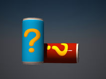 3d can with an question mark label. 3d empty can with question mark label on it Stock Photo