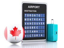 3d Canada airport board and travel suitcases on white backgroun. Image of 3d illustration render. airport board, Canada departures information and travel Stock Photos