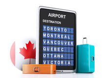 3d Canada airport board and travel suitcases on white backgroun Royalty Free Stock Image