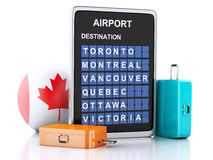 3d Canada airport board and travel suitcases on white backgroun. Image of 3d illustration render. airport board, Canada departures information and travel Royalty Free Stock Image