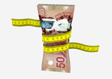 3D Canadian Currency with Measure tape Royalty Free Stock Images