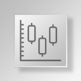 3D Candlestick Chart icon Business Concept. 3D Symbol Gray Square Candlestick Chart icon Business Concept royalty free illustration