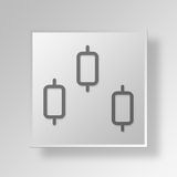 3D Candlestick Chart icon Business Concept. 3D Symbol Gray Square Candlestick Chart icon Business Concept stock illustration