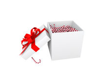 3d candy canes in the gift box. 3d render of candy canes in the gift box Stock Image