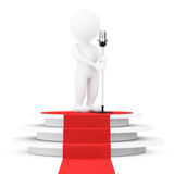 3d Cantante bianco Person con un microfono d'annata sopra il baccello del vincitore Immagini Stock