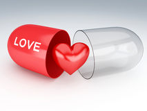 3d capsule with red heart Stock Images