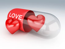 3d capsule with red hearts Stock Photo