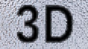 3D caption on fluctuating pixels motion background, 3d rendering. 3D caption on pixels background Royalty Free Stock Image