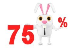 3d carácter, conejo que muestra un texto de 75 porcentajes Imagen de archivo libre de regalías
