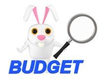 3d carácter, conejo que sostiene una lupa, texto del presupuesto ilustración del vector