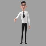 3d carácter divertido, hombre de negocios de mirada comprensivo de la historieta Imagenes de archivo