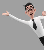 3d carácter divertido, hombre de negocios de mirada comprensivo de la historieta Imágenes de archivo libres de regalías