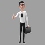 3d carácter divertido, hombre de negocios de mirada comprensivo de la historieta Fotos de archivo libres de regalías