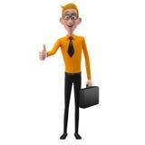 3d carácter divertido, hombre de negocios de mirada comprensivo de la historieta Fotografía de archivo libre de regalías