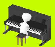 3d carácter, hombre que juega el piano Fotografía de archivo libre de regalías