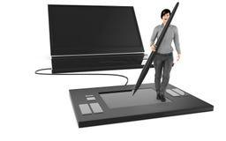3d carácter, mujer que se coloca sobre una tableta gráfica grande y que sostiene una aguja, cerca a un latop grande libre illustration