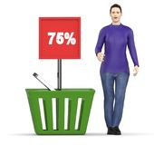 3d carácter, mujer surpried, excitado, colocándose cerca a la cesta con un tablero que exhibe el 75% en él Imagenes de archivo