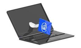 3d carácter, ordenador portátil con las manos que sostienen el sobre emal de la muestra que sale de la pantalla del ordenador por ilustración del vector