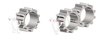 3d caráter, coelho que empurra/engrenagens moventes Ilustração Royalty Free