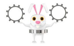 3d caráter, coelho que guarda a roda denteada/engrenagem Ilustração Stock