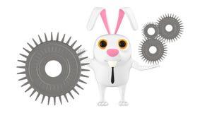 3d caráter, coelho que guarda a roda denteada/engrenagem Ilustração Royalty Free