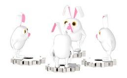 3d caráter, coelho, s que está sobre uma roda da roda denteada Ilustração Stock