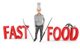 3d caráter, cozinheiro chefe da mulher - fast food ilustração do vetor