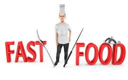 3d caráter, cozinheiro chefe da mulher - fast food ilustração royalty free