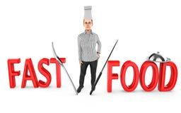 3d caráter, cozinheiro chefe da mulher - fast food ilustração stock