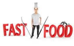 3d caráter, cozinheiro chefe do homem - fast food ilustração do vetor