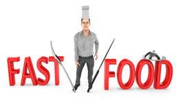 3d caráter, cozinheiro chefe do homem - fast food ilustração stock