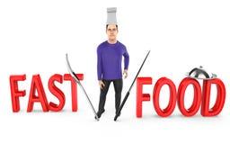 3d caráter, cozinheiro chefe do homem - fast food ilustração royalty free
