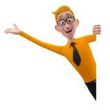 3d caráter engraçado, homem de negócio de vista simpático dos desenhos animados ilustração royalty free
