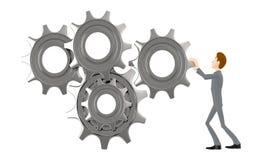 3d caráter, engrenagens de giro do homem/roda denteada Ilustração do Vetor