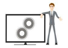3d caráter, homem com uma tela de monitor com a roda denteada nela Ilustração do Vetor