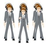 3d caráter, homem, fones de ouvido vestindo do grupo de pessoas ilustração stock